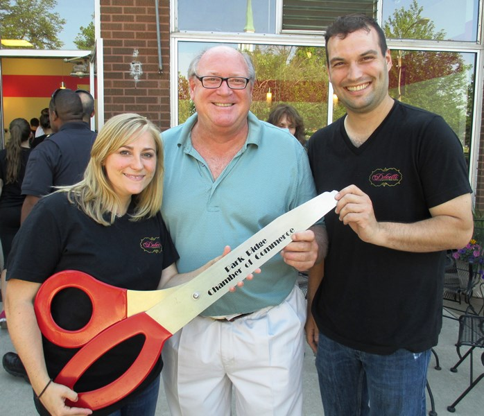 Mayor Dave Schmidt with Dolcetti Owner Alenka Vasilj and her husband Joey